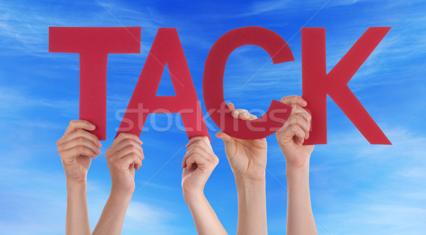 People Holding Straight Swedish Word Tack Means Thanks Blue Sky Stock photo © Nelosa