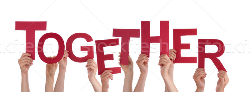 Many People Hands Holding Red Word Together Stock photo © Nelosa