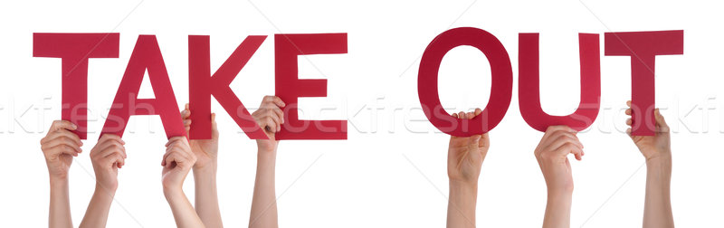 People Hands Holding Red Straight Word Take Out  Stock photo © Nelosa