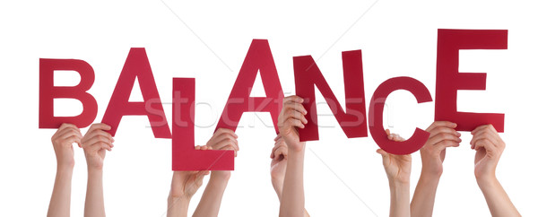 Many People Hands Holding Red Word Balance Stock photo © Nelosa