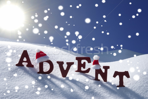 Advent Mean Christmas Time Snowflake Hat Sky Stock photo © Nelosa