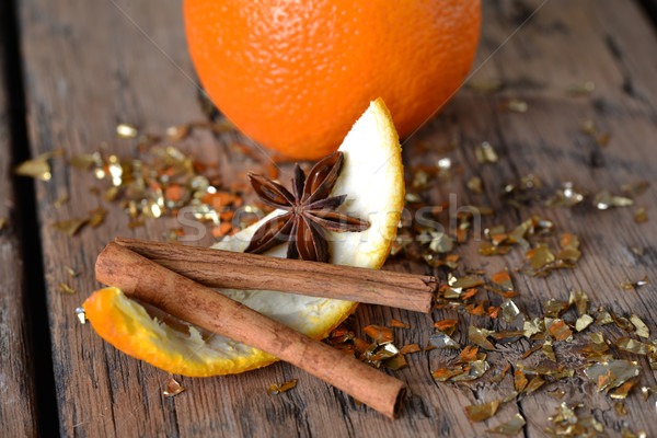 Christmas Food, Orange Zest, Anise, Glitter, Cinnamon Stick Stock photo © Nelosa