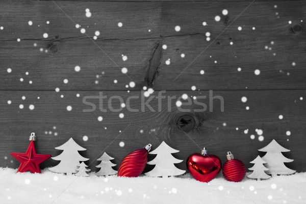 Red, Gray Christmas Decoration, Snow, Copy Space, Snowflakes Stock photo © Nelosa
