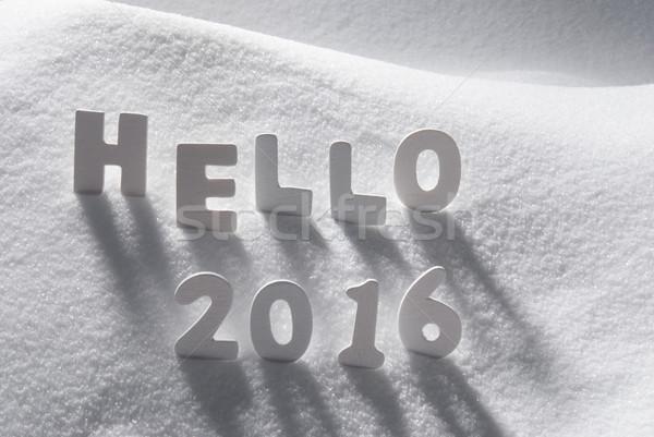 ストックフォト: 白 · クリスマス · 言葉 · ハロー · 2016 · 雪