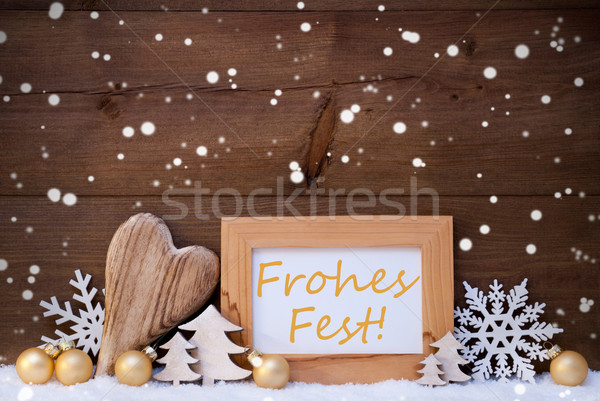 Golden Decoration, Snow, Frohes Fest Means Christmas, Snowflakes Stock photo © Nelosa