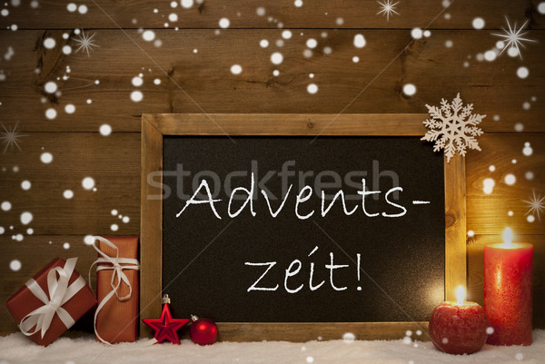 Card, Blackboard, Snowflakes, Adventszeit Mean Christmas Time Stock photo © Nelosa
