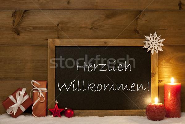 Festive Christmas Card, Blackboard, Snow,Willkommen Mean Welcome Stock photo © Nelosa