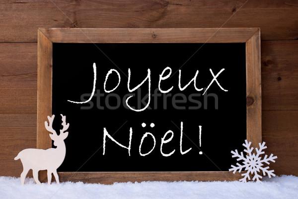 Card, Blackboard, Snow, Reindeer, Joyeux Noel Mean Christmas Stock photo © Nelosa