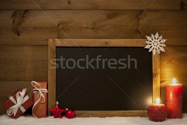 Stock photo: Festive Christmas Card, Blackboard, Snow, Copy Space