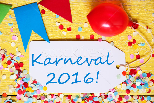 Partij label ballon tekst 2016 carnaval Stockfoto © Nelosa