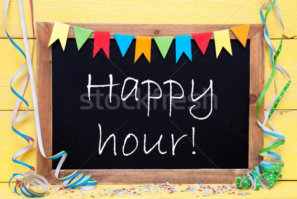 Stockfoto: Schoolbord · partij · decoratie · tekst · gelukkig · uur