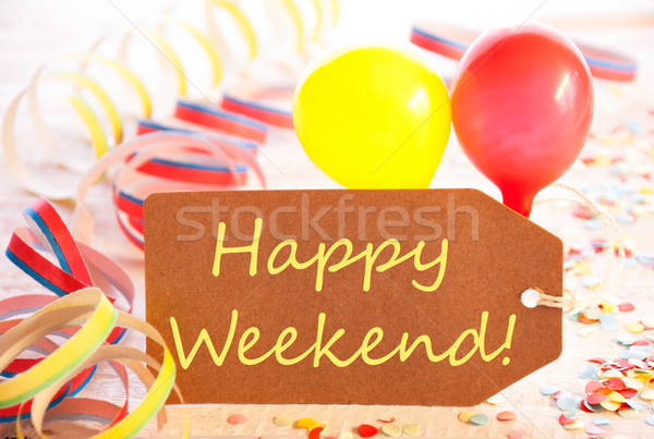 Party Label, Streamer And Balloon, Yellow Text Happy Weekend Stock photo © Nelosa