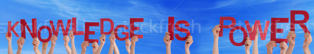 People Hands Holding Red Word Knowledge Is Power Blue Sky Stock photo © Nelosa