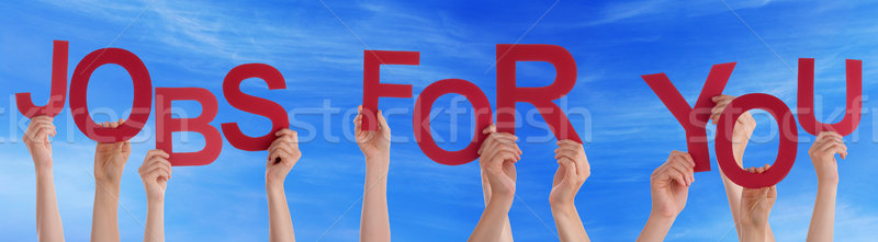 Hands Holding Red Word Jobs For You Blue Sky Stock photo © Nelosa