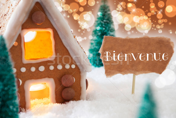 Gingerbread House, Bronze Background, Bienvenue Means Welcome Stock photo © Nelosa