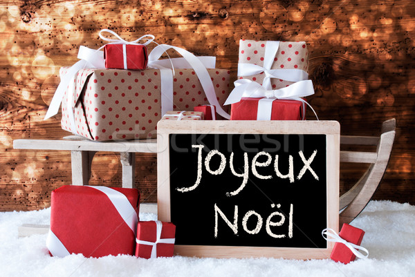 Sleigh With Gifts, Snow, Bokeh, Joyeux Noel Means Merry Christma Stock photo © Nelosa