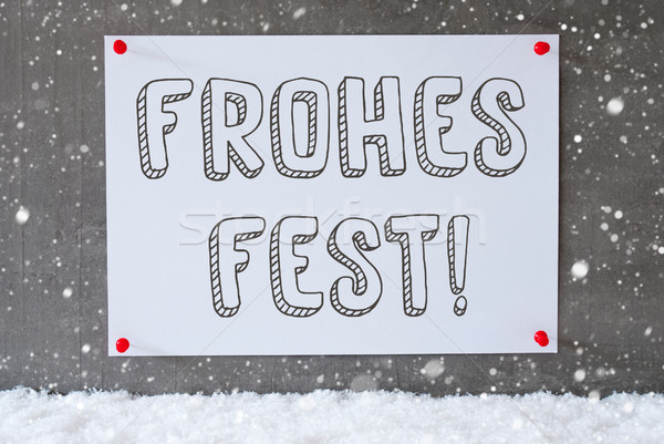 Label On Cement Wall, Snowflakes, Frohes Fest Means Merry Christmas Stock photo © Nelosa