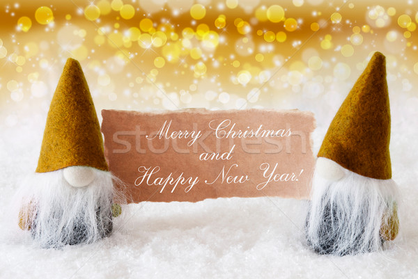 Golden Noble Gnomes With Card, Merry Christmas Happy New Year Stock photo © Nelosa