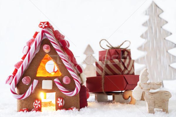 Mézeskalács ház jávorszarvas fa díszlet karácsony Stock fotó © Nelosa