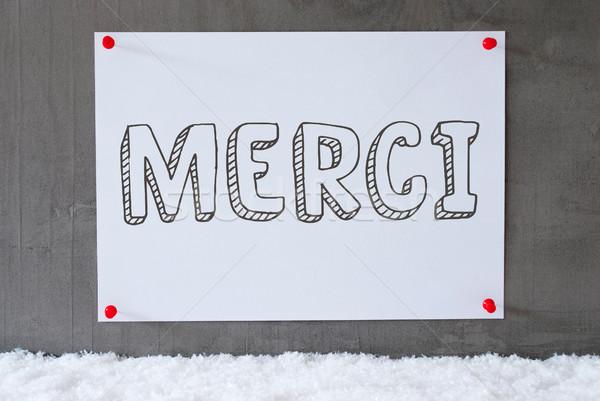 Etiket çimento duvar kar teşekkür ederim fransız Stok fotoğraf © Nelosa