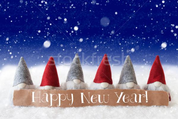 Kék hópelyhek szöveg boldog új évet címke angol Stock fotó © Nelosa