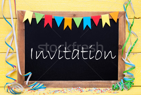 Chalkboard With Streamer, Text Invitation Stock photo © Nelosa