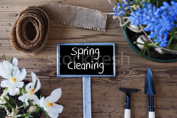 Fiori segno testo pulizie di primavera english fiori di primavera Foto d'archivio © Nelosa