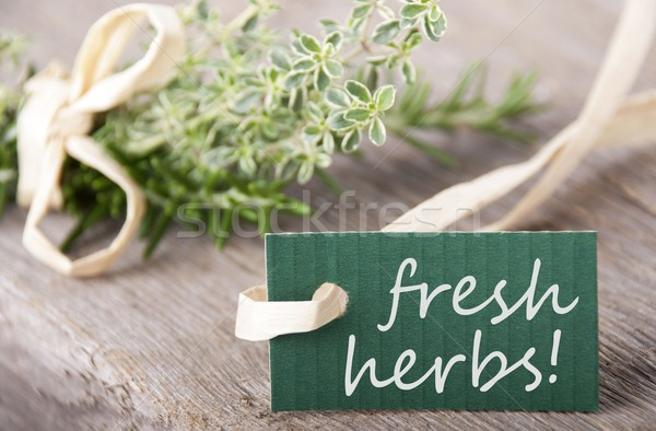 green label with fresh herbs on it Stock photo © Nelosa