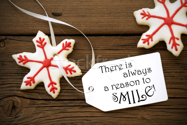 Red Christmas Star Cookies With Life Quote On It Stock photo © Nelosa