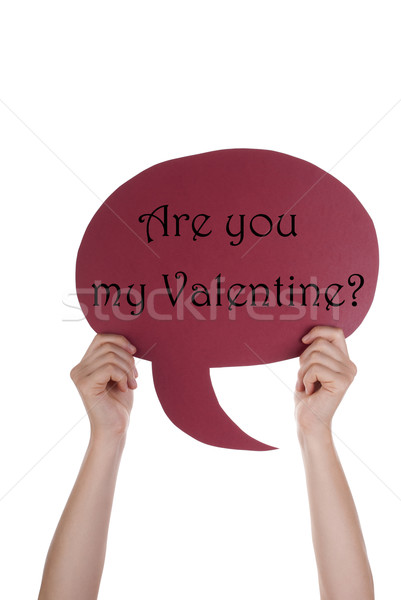 Red Speech Balloon With Are You My Valentine Stock photo © Nelosa