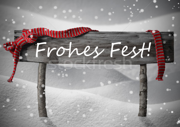 Sign Frohes Fest Means Merry Christmas,Snow, Snowfalkes Stock photo © Nelosa