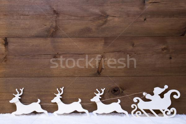 White Santa Claus Sled, Reindeer, Snow, Copy Space Stock photo © Nelosa