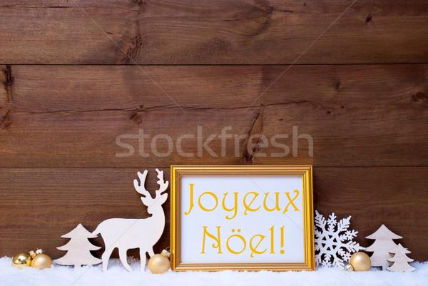 Card, Snow, Joyeux Noel Mean Merry Christmas Stock photo © Nelosa