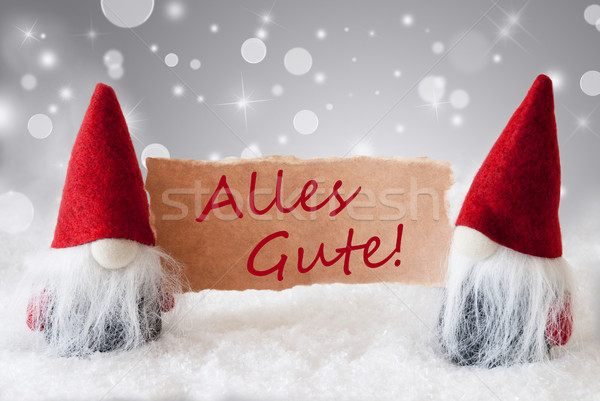 Red Gnomes With Snow, Alles Gute Means Best Wishes Stock photo © Nelosa