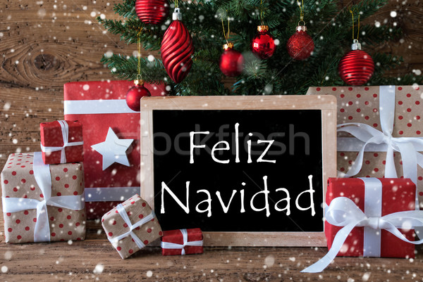 Colorful Tree With Snowflakes, Feliz Navidad Means Merry Christm Stock photo © Nelosa