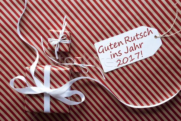 Stok fotoğraf: Hediyeler · etiket · happy · new · year · iki · hediyeler · beyaz