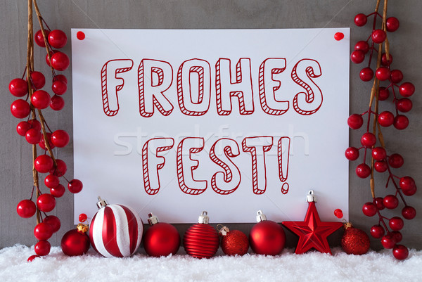 Label, Snow, Balls, Frohes Fest Means Merry Christmas Stock photo © Nelosa