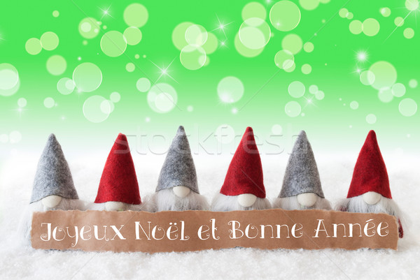 Gnomes, Green Background, Bokeh, Stars, Joyeux Noel Means Merry  Stock photo © Nelosa
