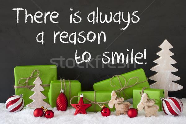 Christmas Decoration, Cement, Snow, Quote Always Reason To Smile Stock photo © Nelosa