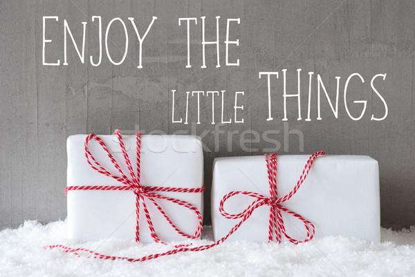 Deux cadeaux neige citer jouir de peu Photo stock © Nelosa