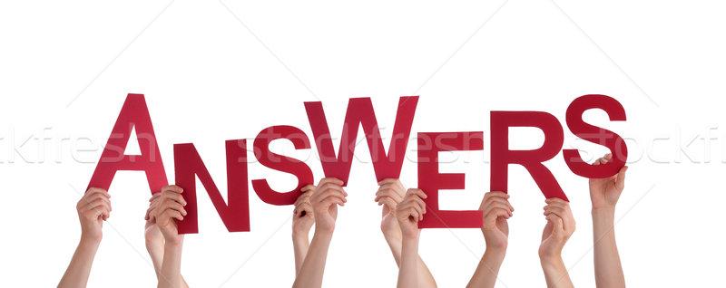 Mains réponses beaucoup rouge mot Photo stock © Nelosa