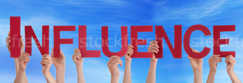 Many People Hands Holding Red Straight Word Influence Blue Sky Stock photo © Nelosa