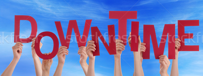 Many People Hands Holding Red Word Downtime Blue Sky Stock photo © Nelosa