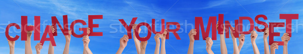 People Hands Holding Red Word Change Your Mindset Blue Sky Stock photo © Nelosa