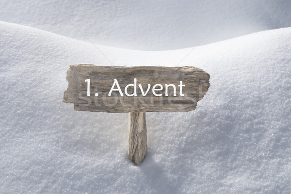 Sign With Snow 1 Advent Means Christmas Time Stock photo © Nelosa