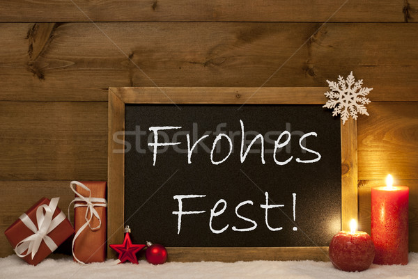 Festive Card, Blackboard, Snow, Frohes Fest Mean Merry Christmas Stock photo © Nelosa