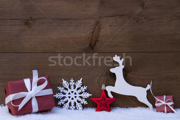 Red Christmas Card With Decoration, Copy Space, Snow Stock photo © Nelosa