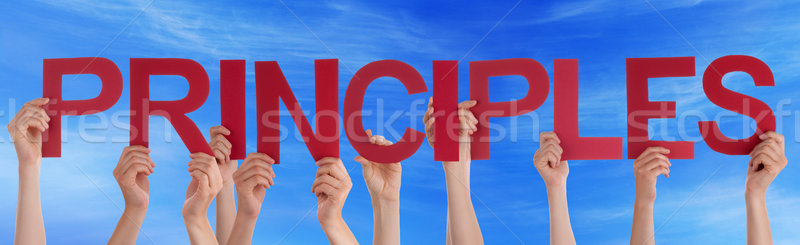 Many People Hands Holding Red Straight Word Principles Blue Sky Stock photo © Nelosa