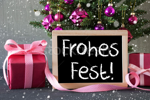 Tree With Gifts, Snowflakes, Frohes Fest Means Merry Christmas Stock photo © Nelosa