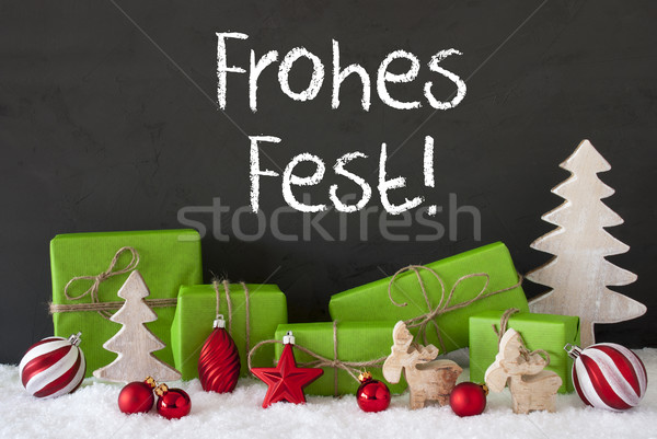 Decoration, Cement, Snow, Frohes Fest Means Merry Christmas Stock photo © Nelosa